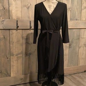 Spense black fringed fitted wrap dress size 8